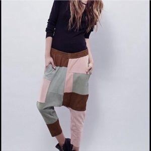 One Teaspoon suede patchwork drop crotch pants